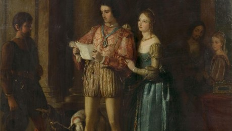 Oil painting by Gilbert Stuart Newton entitled 'Portia and Bassanio' from Shakespeare's 'The Merchant of Venice' (Act III, Scene 2). Great Britain, 1831.