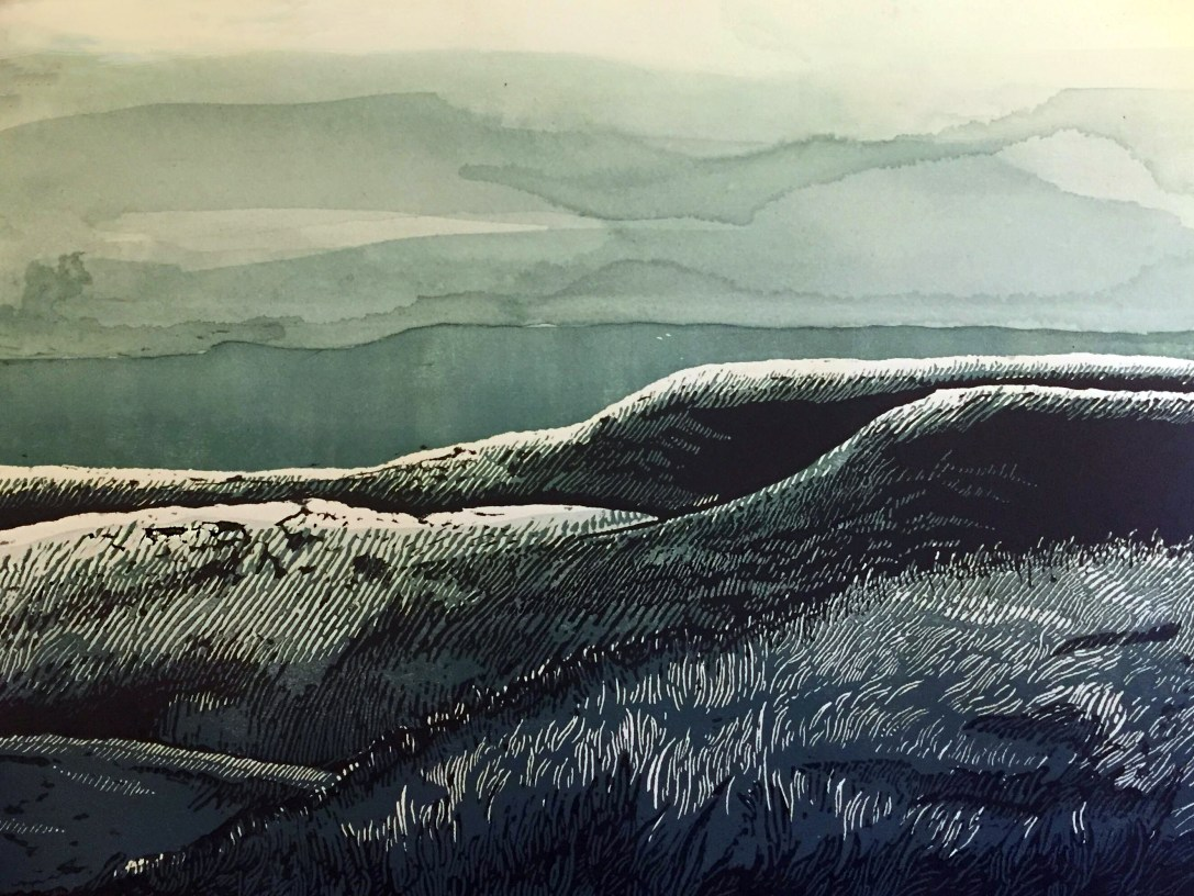 """""""Flint Hills - Midnight"""" Relief Print and Watercolor - $100"""