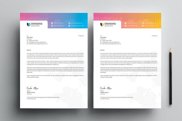 White letterhead template with blue wavy details. 20 Best Free Microsoft Word Corporate Letterhead Templates