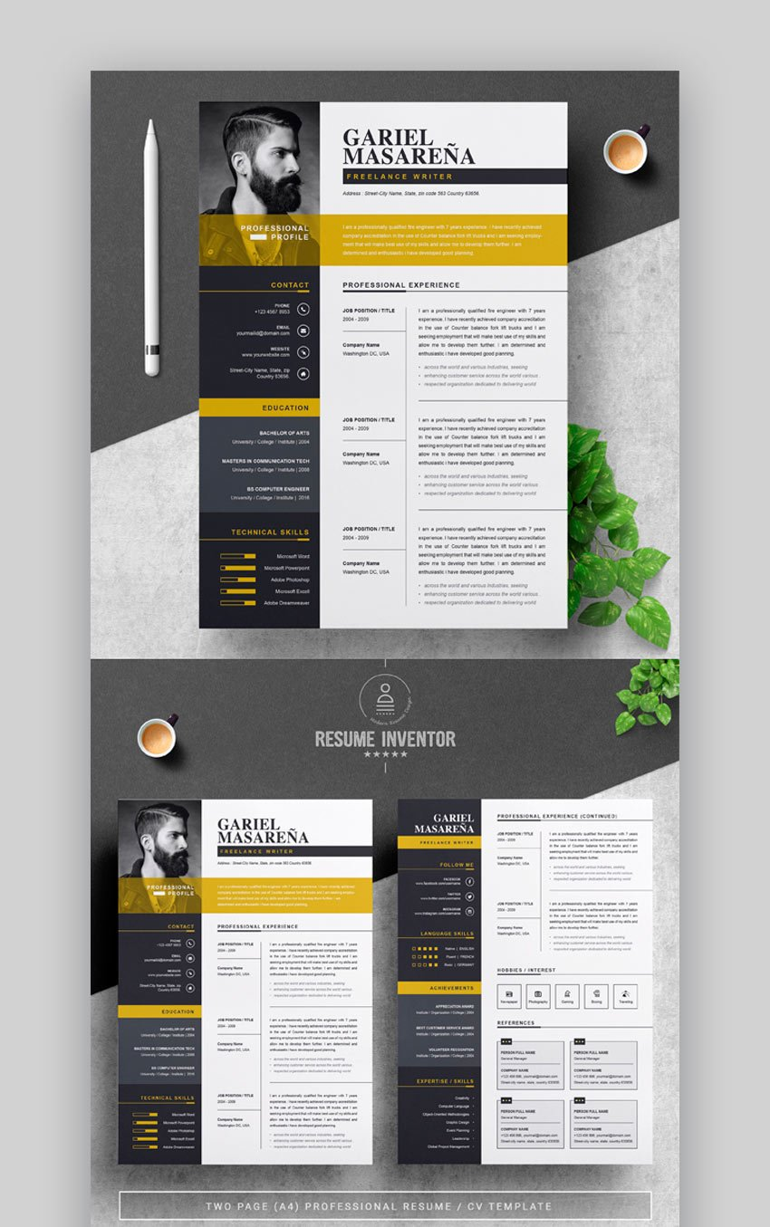 Find & download free graphic resources for cv template. 30 Illustrator Ai Resume Templates Creative Cv Designs 2021