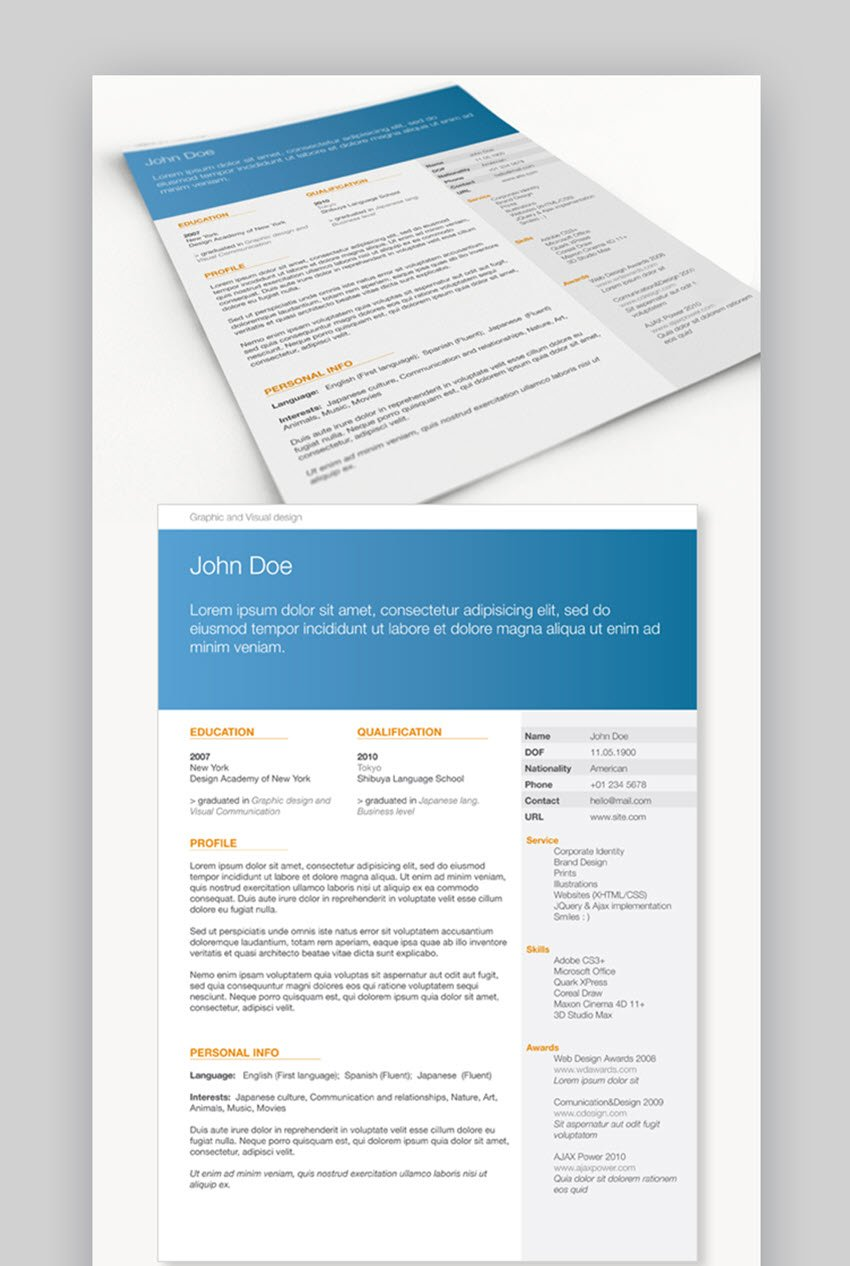 This resume template come with two page templates with professional look and minimal layout structure. 22 Free Minimalist Resume Templates For Word More