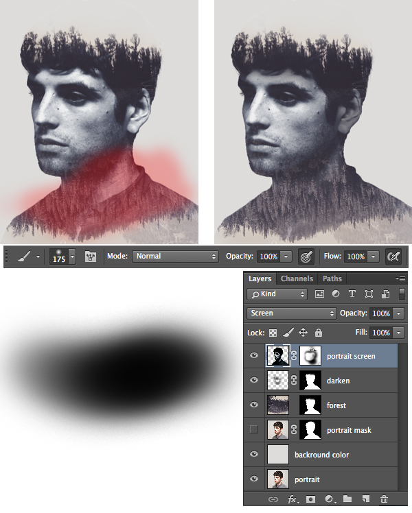 edit the neck of the portrait with the layer mask
