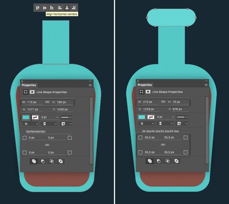 shape a bottleneck and align the shapes