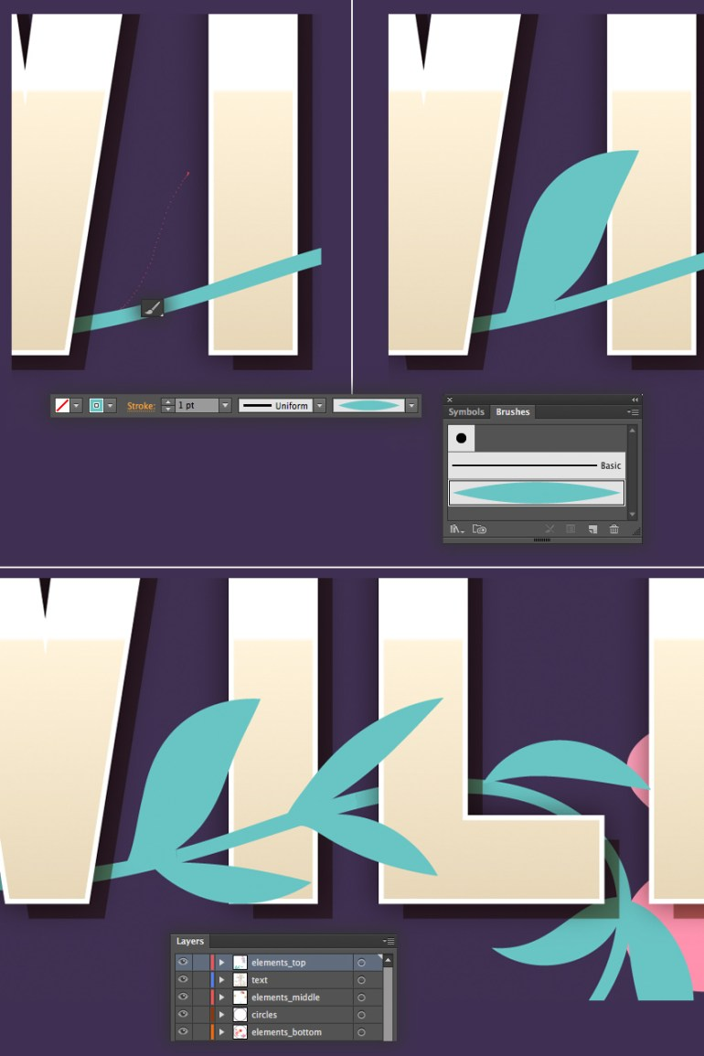 add leaves with the paintbrush tool
