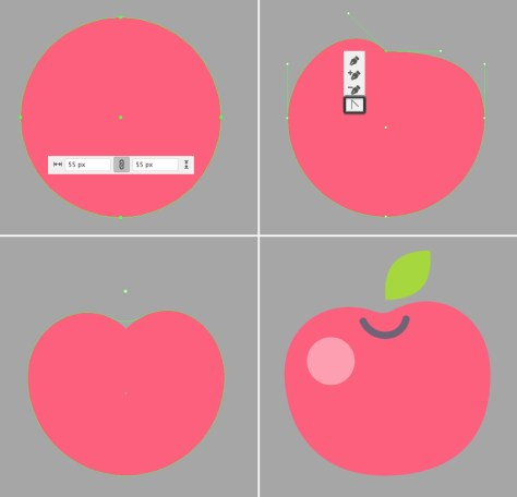 make an apple from a circle