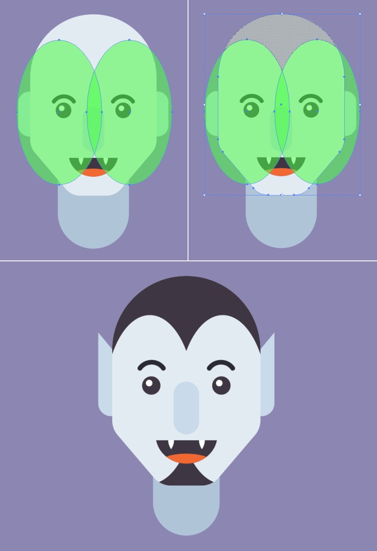 make a hair and a beard from ellipses