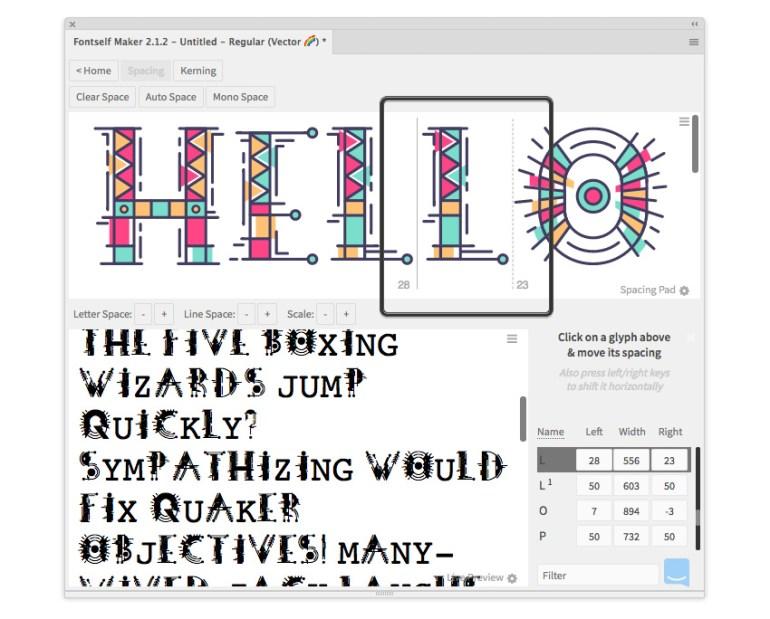 edit spacing in fontself
