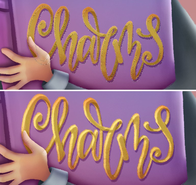 add shadow and highlights to lettering