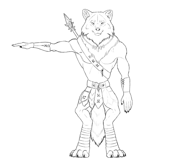 Design and Draw a Model Sheet of a Werewolf Warrior