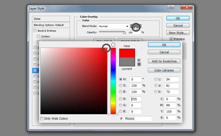color overlay bright red