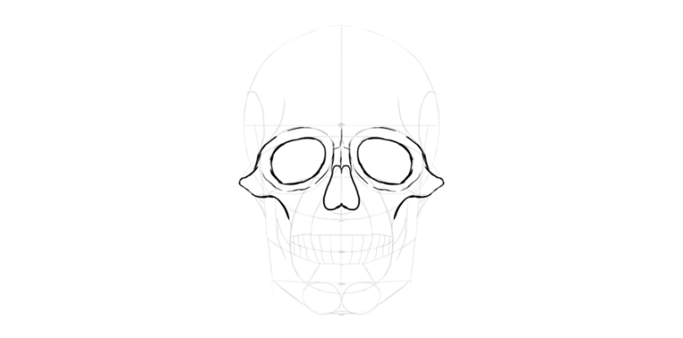 human skull eyes outline