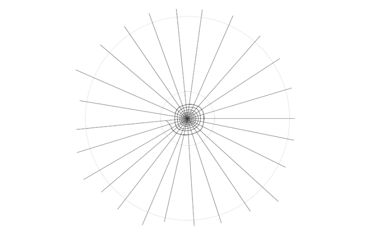 spider web drawing smaller circle