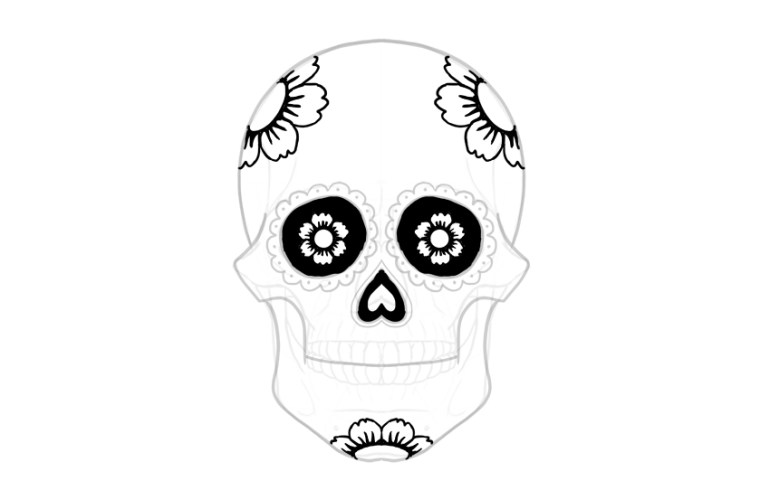 draw flowers on sugar skull