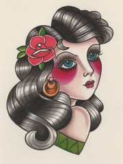 draw vintage pin- portrait