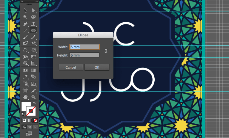 adobe illustrator dot letters ellipse tool sign height width dialo box eid fitr greeting mubarak