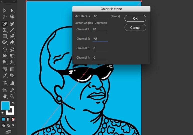 Create Color Halftone Effect thru Pixelate Effect