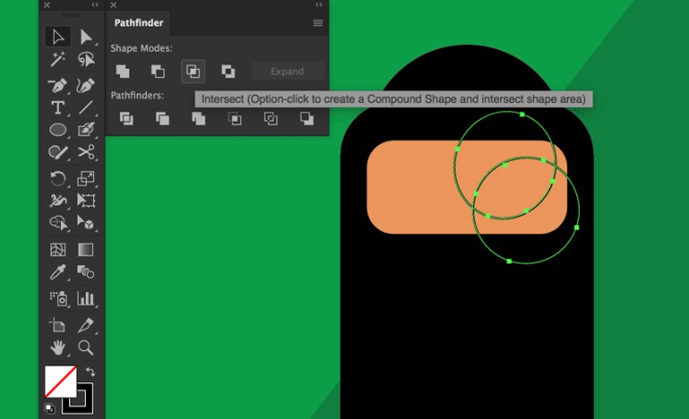Ellipse tool create eye shape by Pathfinder Intersect