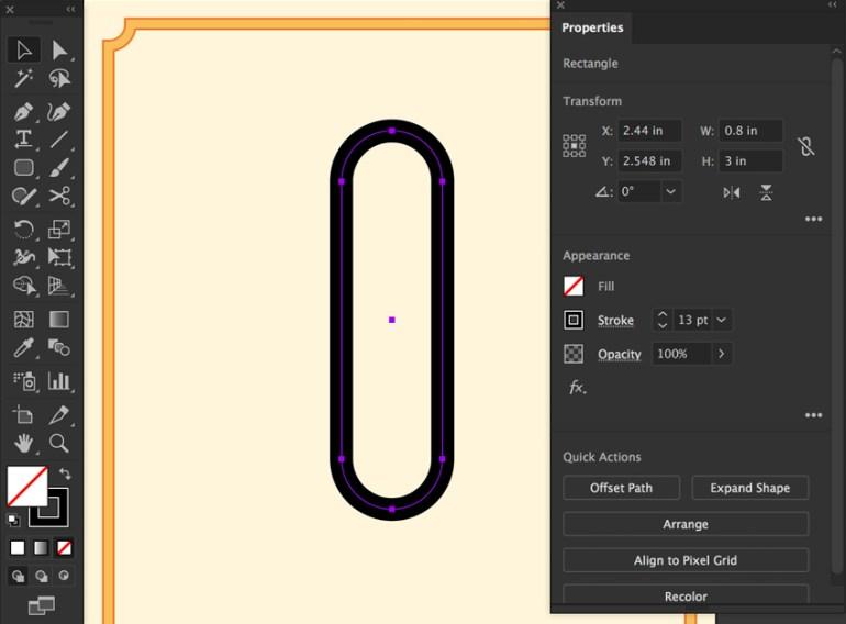 Rounded rectangle tool set width height corner radius stroke