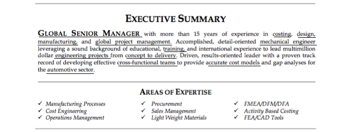 example keyword summary resume examples