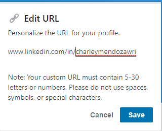 LinkedIn Profile Tips Custom URL