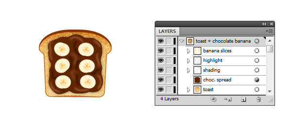 chocolate spread and banana on toast icon
