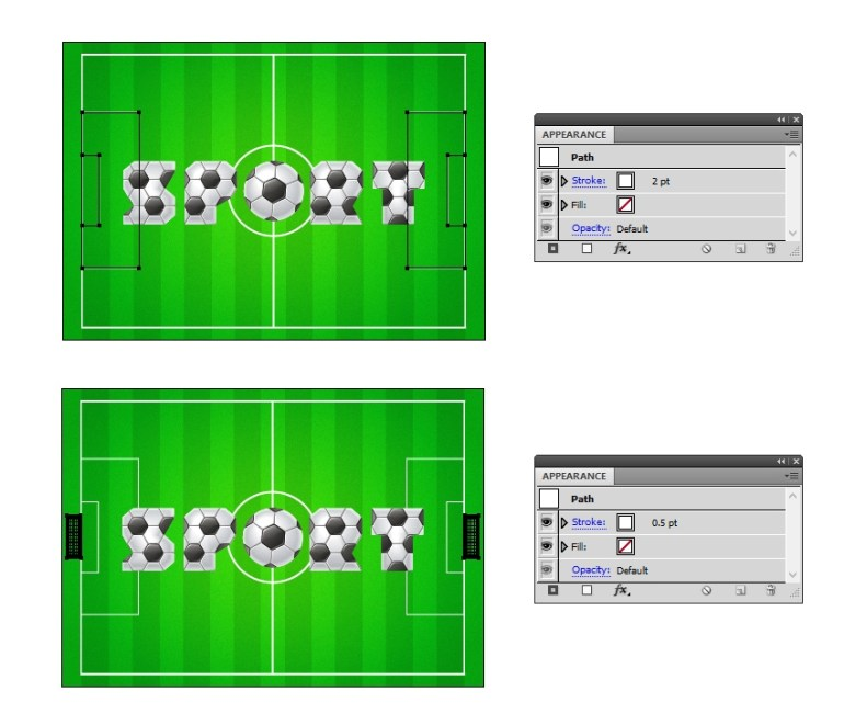 draw the goal area on the football field background