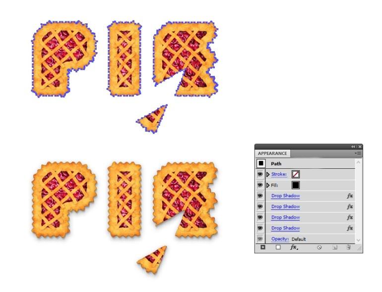 add shadow under pie letters