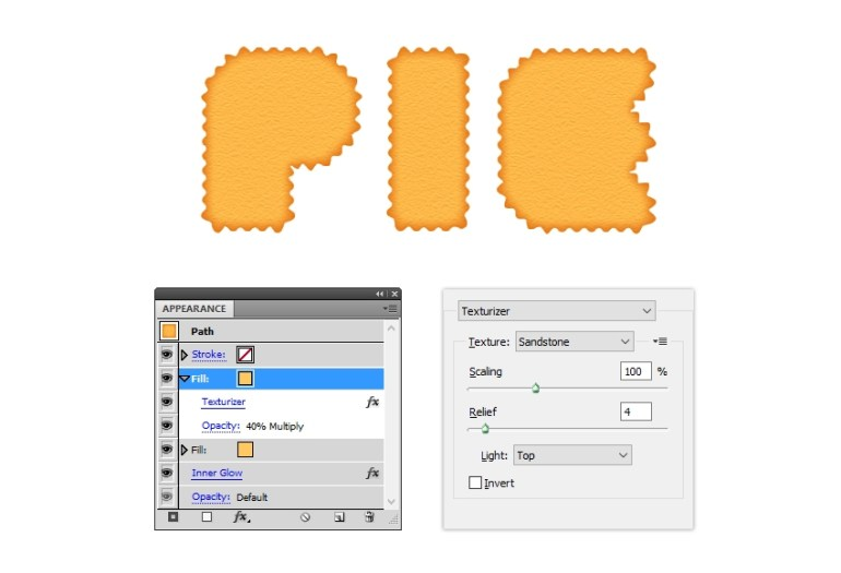 apply texturizer effect to pie letters