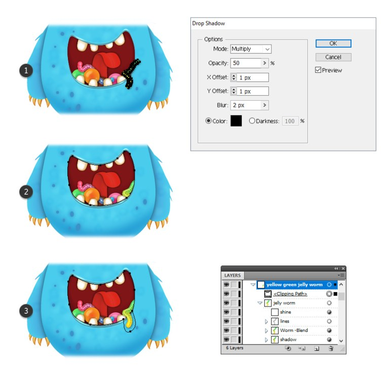 how to add shadow and mask the jelly worm