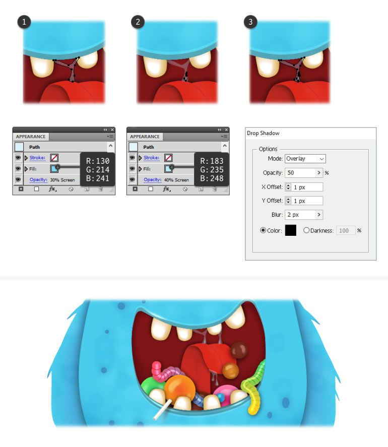 how to draw saliva inside monsters mouth