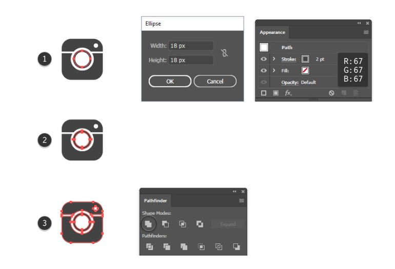 how to add inner circle to the Instagram vector logo shape
