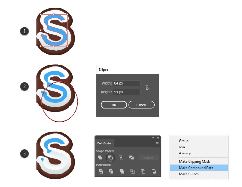 how to create the inside shadow shape for letter S