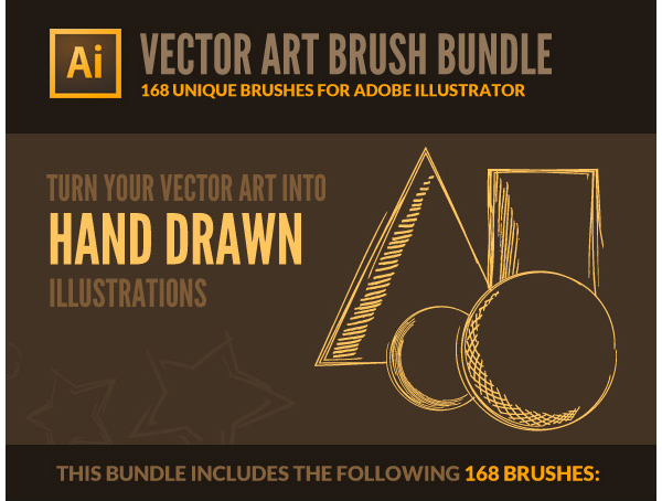 168 Vector Art Brushes - Bundle