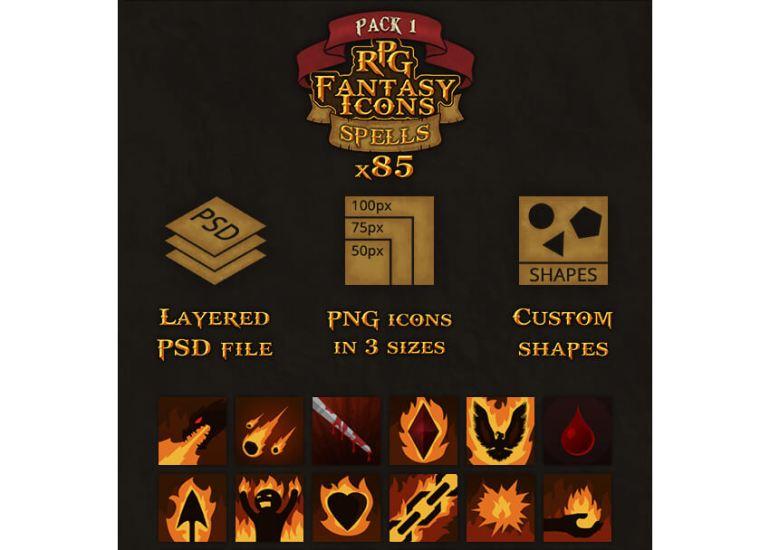 85 RPG Fantasy Spells Icons