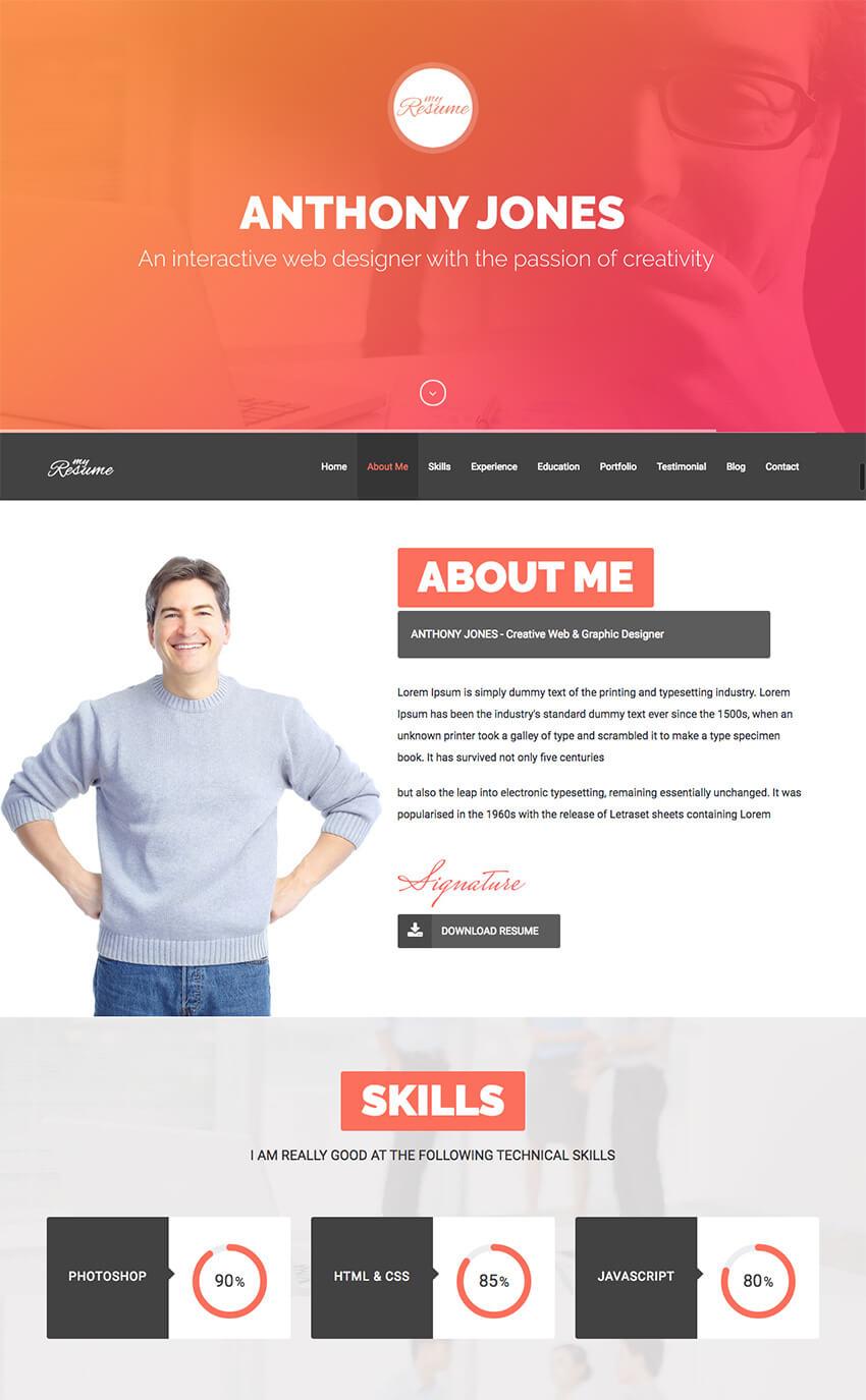 Resumex - Multipurpose Wp Resume & One Page Folio