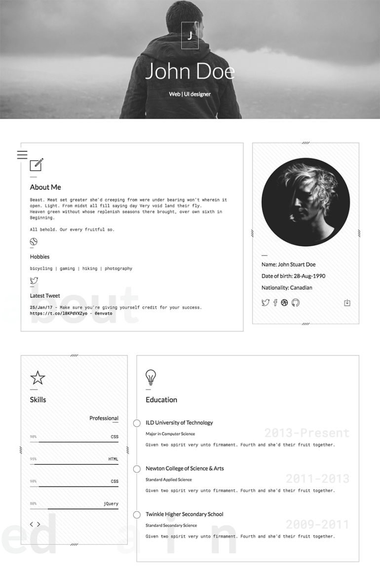 Classic Personal Resume HTML Website Template