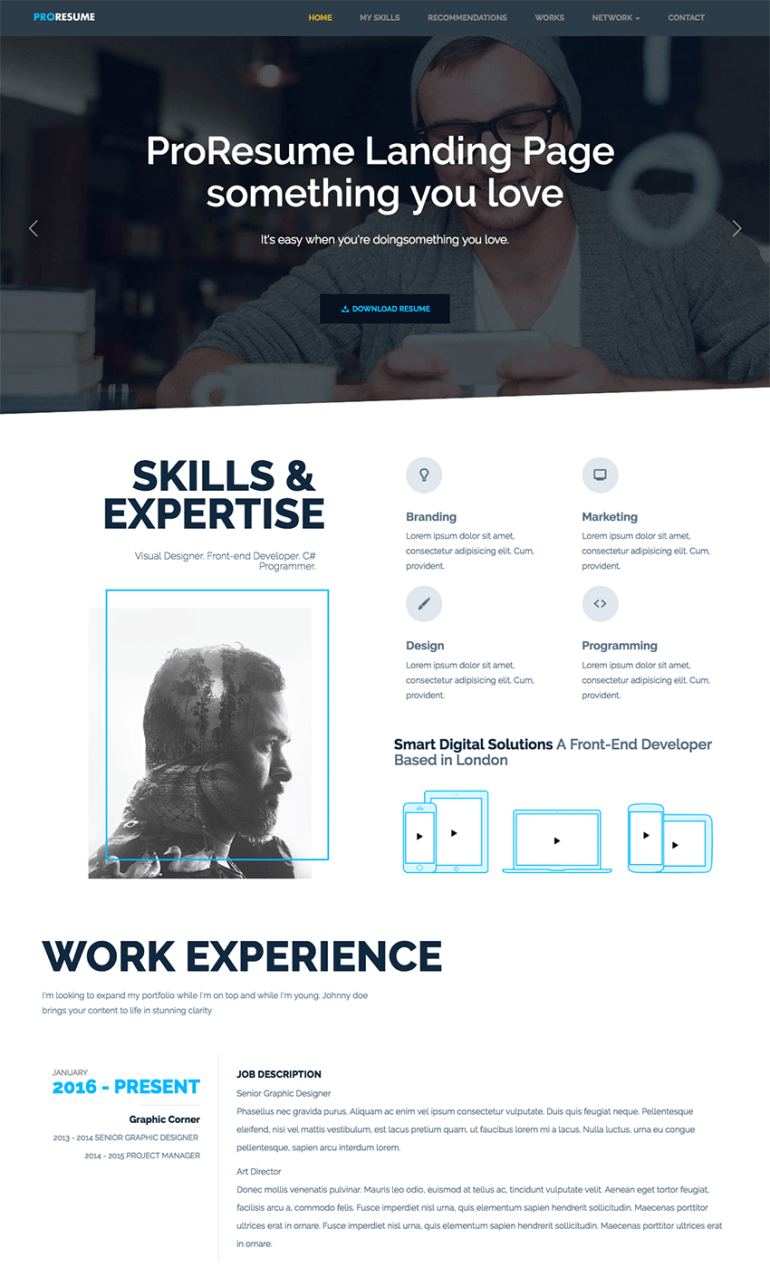 ProResume Professional HTML ResumeCV Site Template