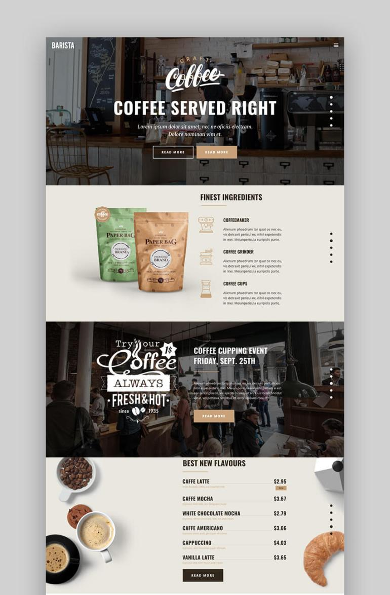 Barista creative design restaurant WordPress theme