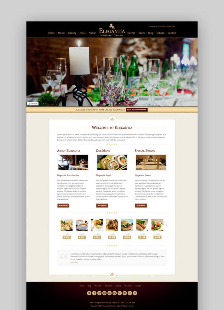 Elegantia restaurant SEO WordPress theme