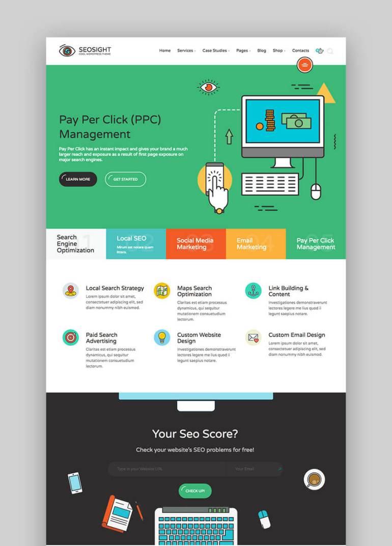 SEOSight flat WordPress website Theme