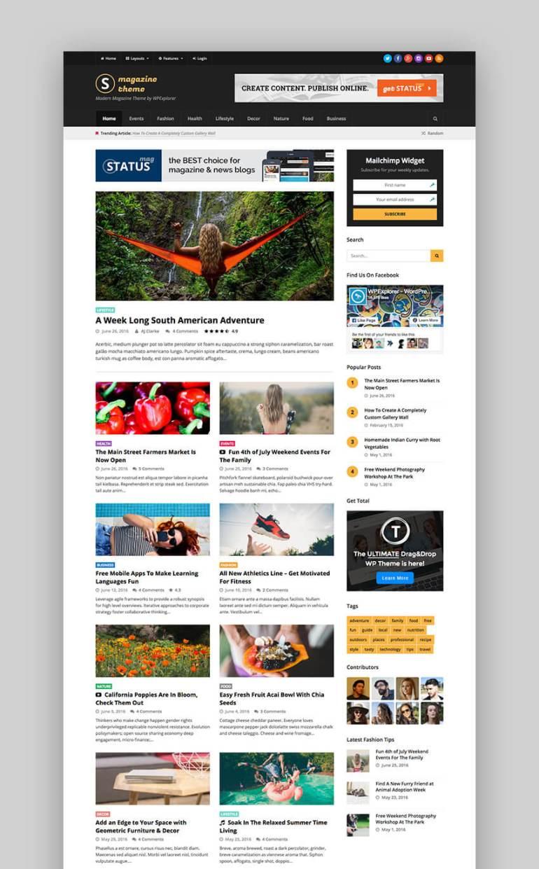 Status flat design WordPress website theme