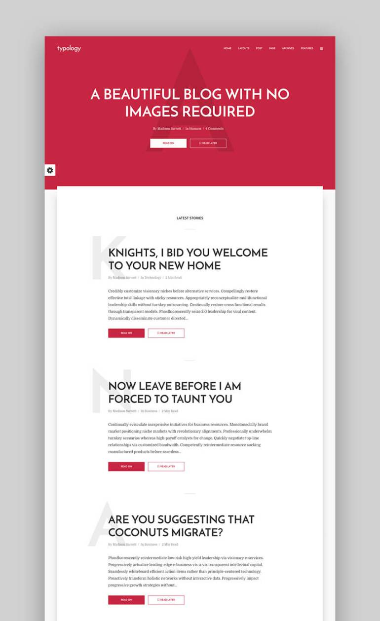 Typology flat WordPress blog theme design