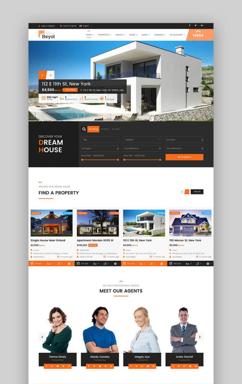 Beyot responsive WordPress real estate theme