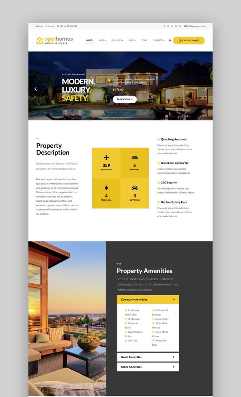 OpalHomes single property WordPress real estate theme