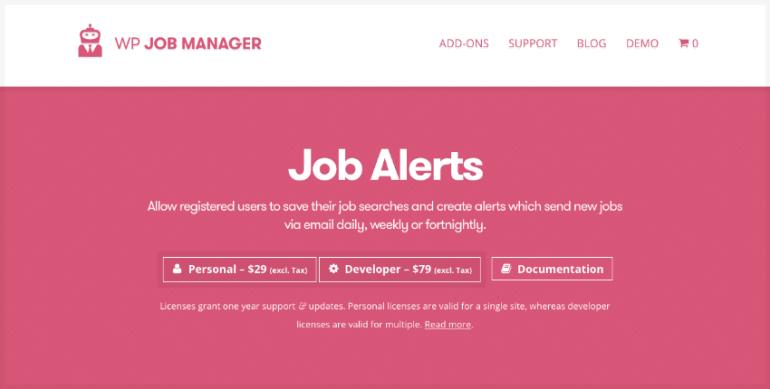 Job Alerts WordPress plugin