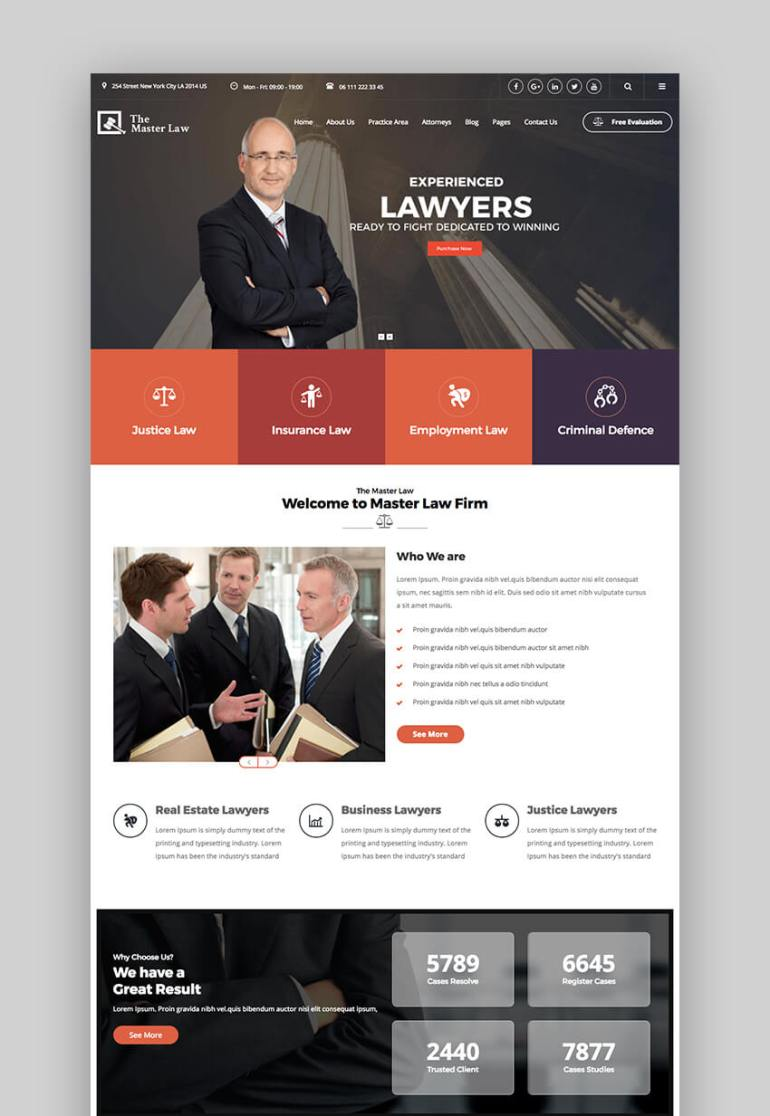 Master Law legal WordPress theme