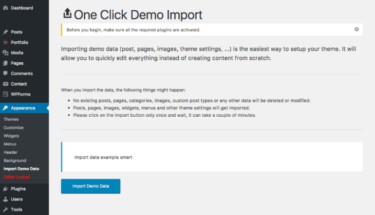 One Click demo import for simple WordPress website design setup