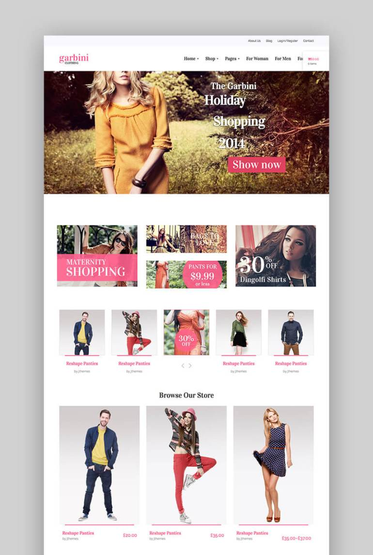 Garbini WordPress theme for fashion websites