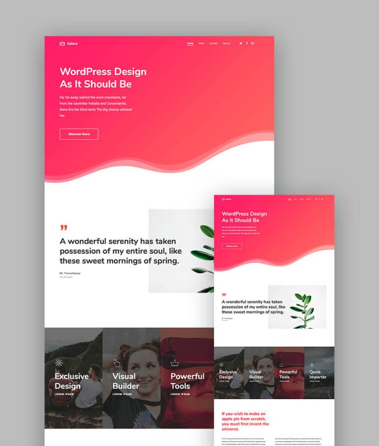 Salient corporate theme for latest responsive wordpress sites
