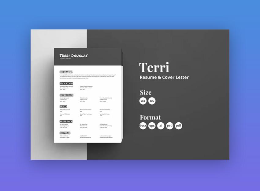 resume template elegant 20 black and white